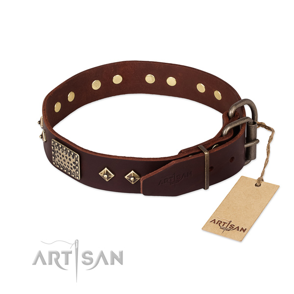 Full grain genuine leather dog collar with corrosion proof buckle and decorations