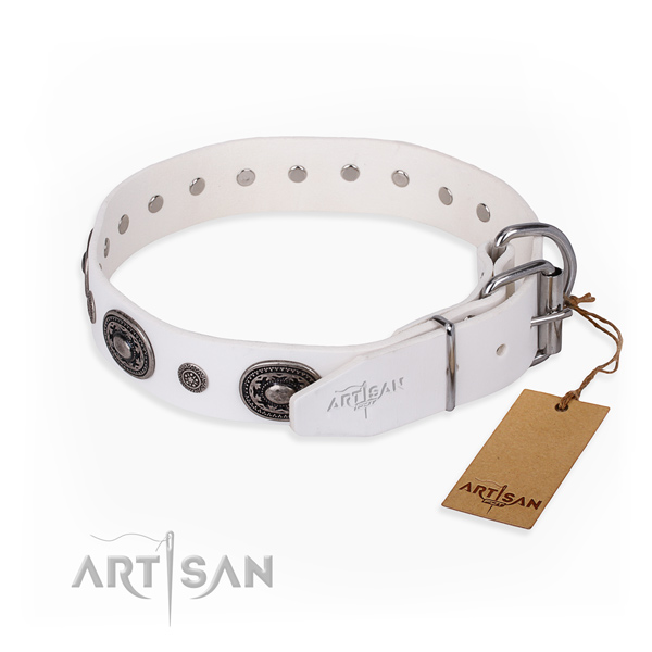 Soft genuine leather dog collar made for walking