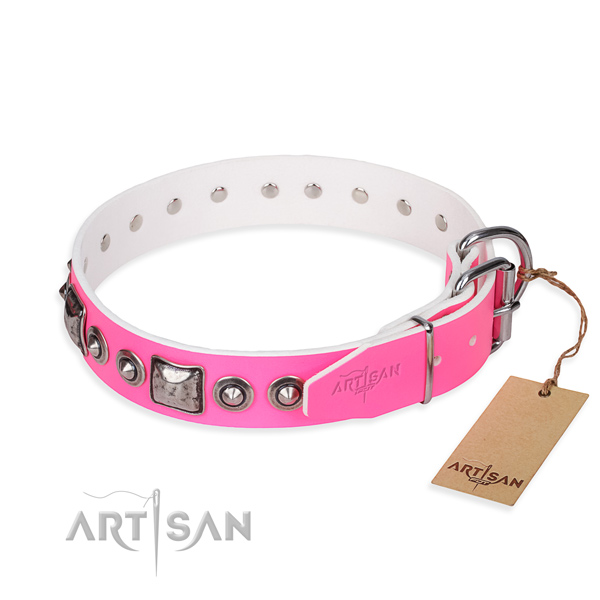 Top rate full grain genuine leather dog collar made for everyday use