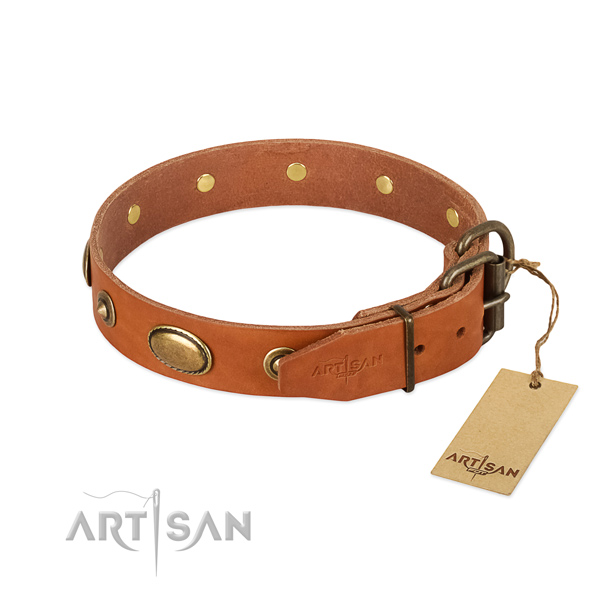 Durable hardware on full grain genuine leather dog collar for your dog