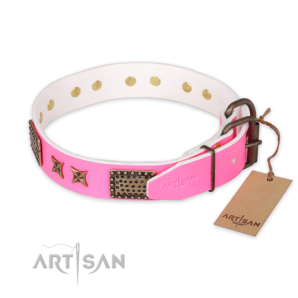 Strong traditional buckle on full grain leather collar for your attractive four-legged friend