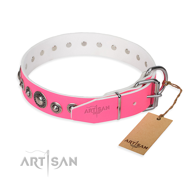Full grain leather dog collar made of top notch material with corrosion resistant embellishments