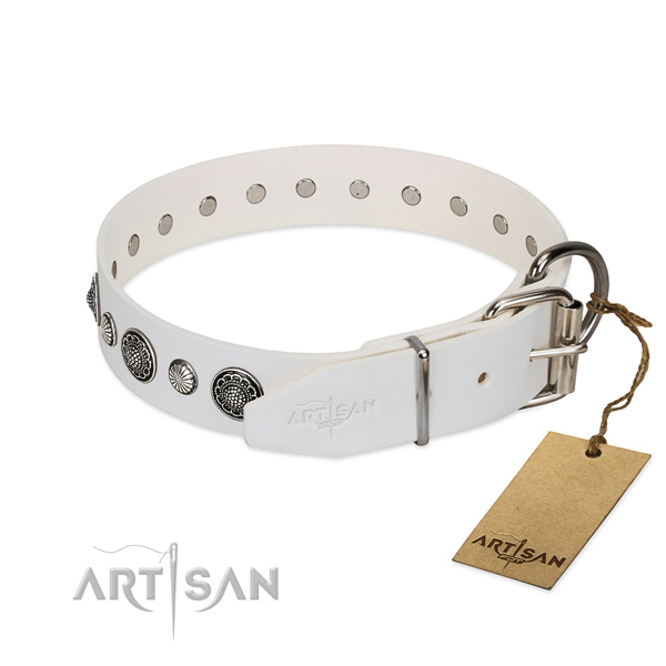 Flexible leather dog collar with corrosion proof D-ring