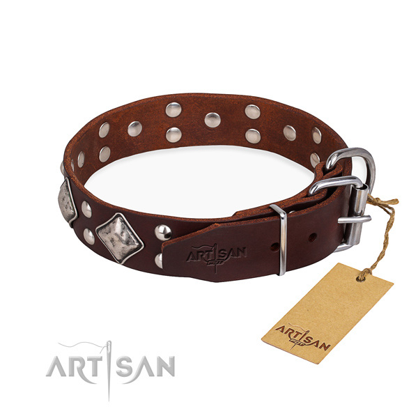 Leather dog collar with fashionable corrosion resistant decorations