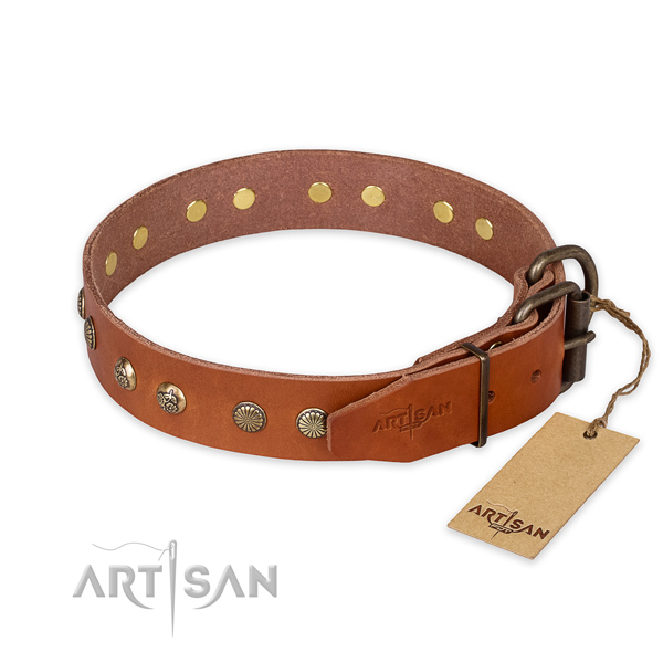 Durable traditional buckle on natural genuine leather collar for your impressive canine