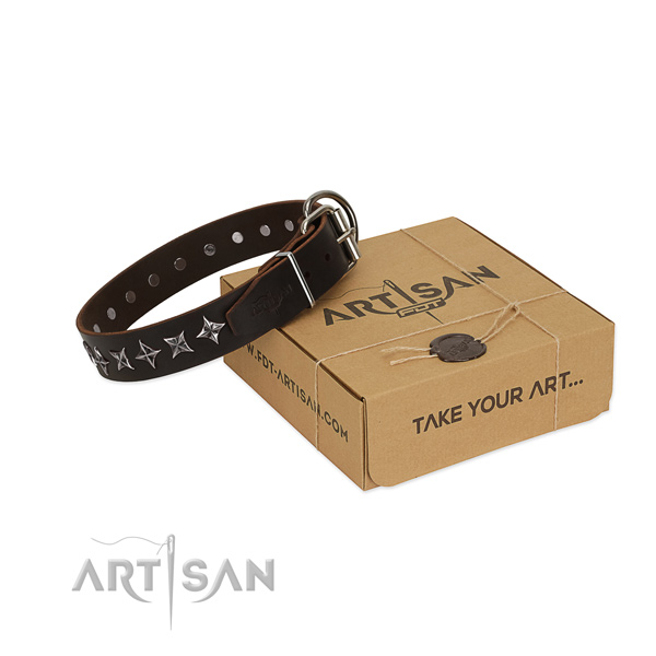 Comfortable wearing dog collar of fine quality natural leather with adornments