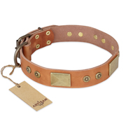 """The Middle Ages"" FDT Artisan Handcrafted Tan Leather Siberian Husky Collar"
