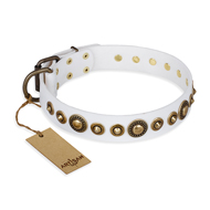 """Swirl of Fashion"" FDT Artisan Delicate White Leather Siberian Husky Collar with Stunning Bronze-Plated Round Studs"