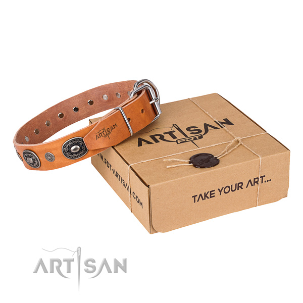 Soft to touch natural genuine leather dog collar crafted for daily use