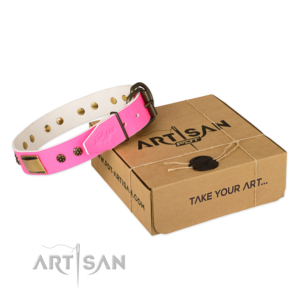 Convenient full grain genuine leather collar for your lovely pet