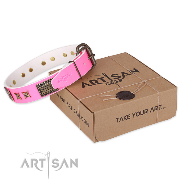 Rust resistant buckle on natural genuine leather collar for your attractive four-legged friend
