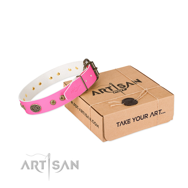 Strong embellishments on full grain genuine leather dog collar for your doggie