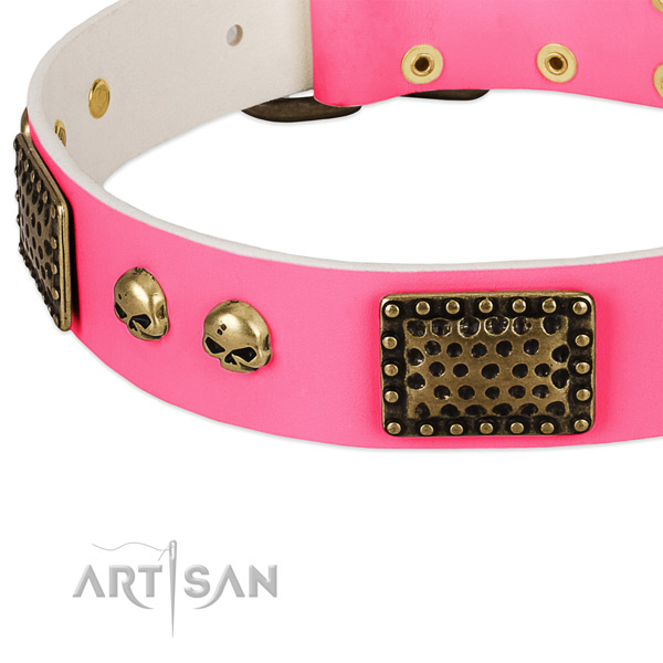 Durable embellishments on genuine leather dog collar for your four-legged friend