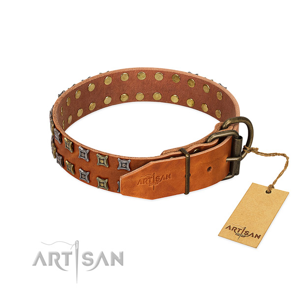 High quality full grain natural leather dog collar crafted for your four-legged friend
