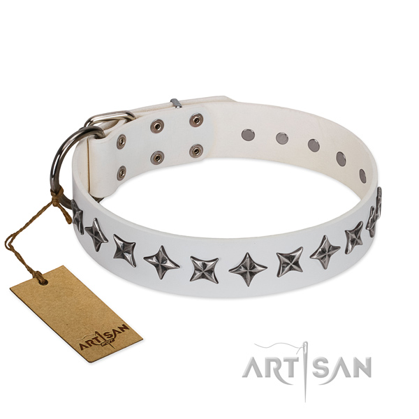 Comfy wearing dog collar of reliable full grain genuine leather with decorations