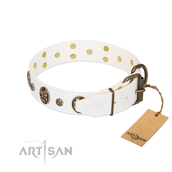 Durable D-ring on genuine leather dog collar for your four-legged friend