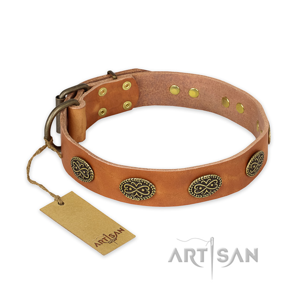 Inimitable full grain leather dog collar with corrosion resistant D-ring