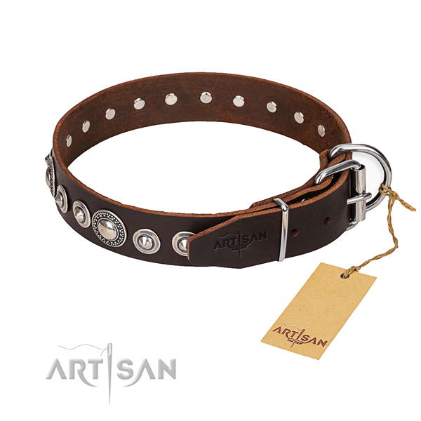 Full grain natural leather dog collar made of reliable material with durable hardware