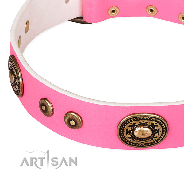 Full grain leather dog collar made of top notch material with decorations