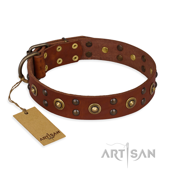 Fine quality full grain natural leather dog collar with reliable hardware