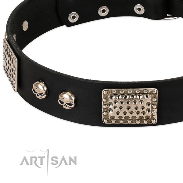 Durable hardware on natural genuine leather dog collar for your canine