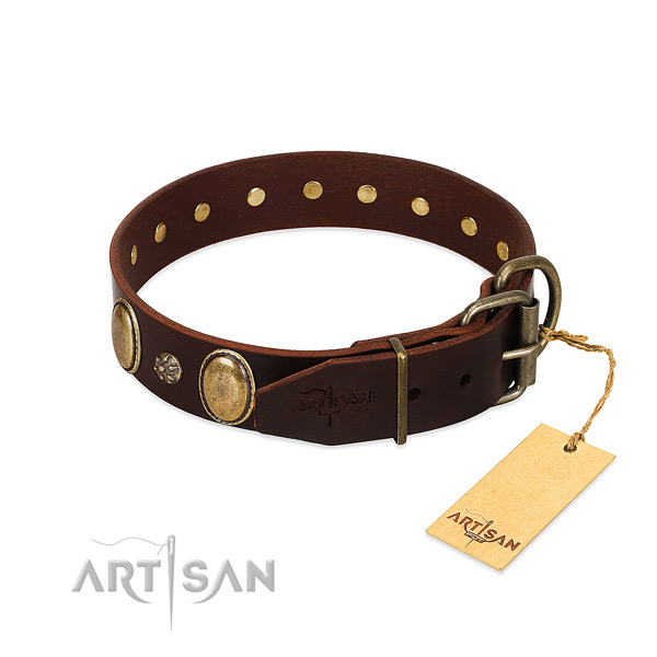 Daily use flexible full grain genuine leather dog collar