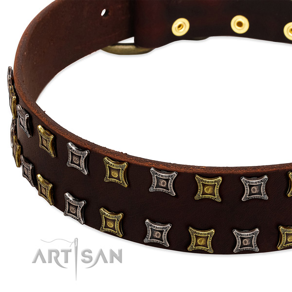 Soft to touch full grain genuine leather dog collar for your impressive doggie