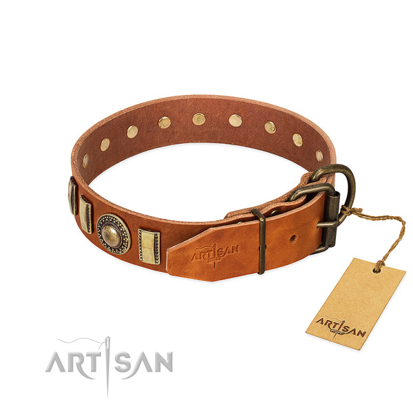 Exquisite natural leather dog collar with corrosion proof D-ring