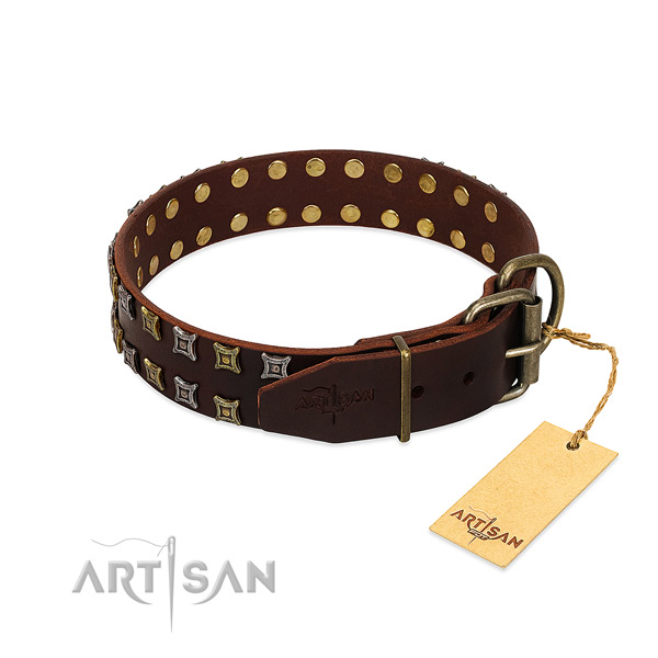 High quality natural leather dog collar handcrafted for your four-legged friend