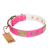 """Flower Parade"" FDT Artisan Pink Leather Siberian Husky Collar with Plates and Studs"