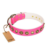 """Pawty Time"" FDT Artisan Pink Leather Siberian Husky Collar with Decorative Skulls and Brooches"