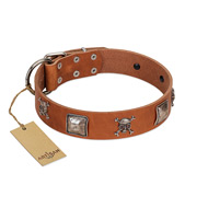 """Amorous Escapade"" Embellished FDT Artisan Tan Leather Siberian Husky Collar with Chrome Plated Crossbones and Plates"