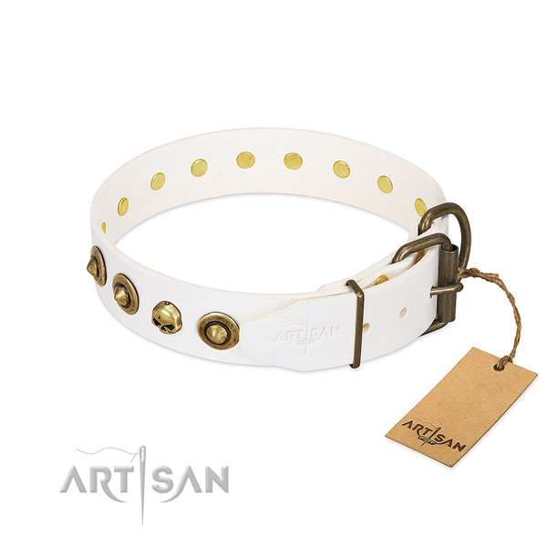 Full grain natural leather collar with designer embellishments for your doggie
