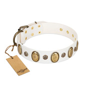 """Nifty Doodad"" FDT Artisan White Leather Siberian Husky Collar with Amazing Large Ovals and Small Studs"