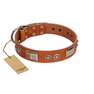 """Pawsy Glossy"" FDT Artisan Exclusive Tan Leather Siberian Husky Collar 1 1/2 inch (40 mm) wide"