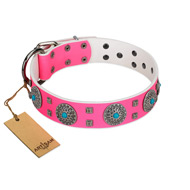 """Pink Delight"" FDT Artisan Pink Leather Siberian Husky Collar for Everyday Walking"