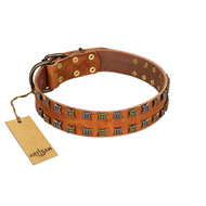 """Terra-cotta"" FDT Artisan Tan Leather Siberian Husky Collar with Two Rows of Studs"