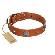 """Marine Antiques"" Handmade FDT Artisan Tan Leather Siberian Husky Collar with Blue Stones"