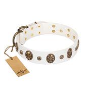 """Magic Bullet"" FDT Artisan White Leather Siberian Husky Collar with Studs and Skulls"