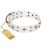 """The Milky Way"" FDT Artisan White Leather Siberian Husky Collar Adorned with Stars and Tiny Squares"