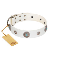 """Lush Life"" Designer Handcrafted FDT Artisan White Leather Siberian Husky Collar with Blue Stones"