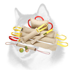 Jute dog bite training set of tugs for Siberian Husky