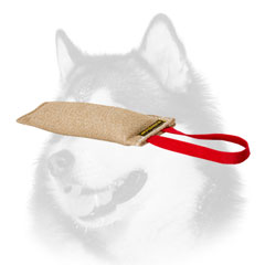Siberian Husky bite tug jute with handle